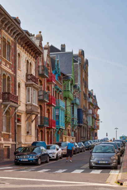 Colorful half-timbered townhouses in Mers-les-Bains stock photo