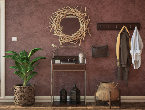 Colorful entrance hall with rustic sideboard, plant, mirror, and decoration. Render image.
