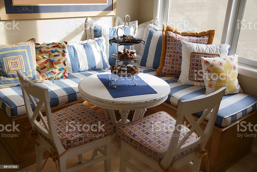 Colorful Hamptons Style Kitchen Nook stock photo