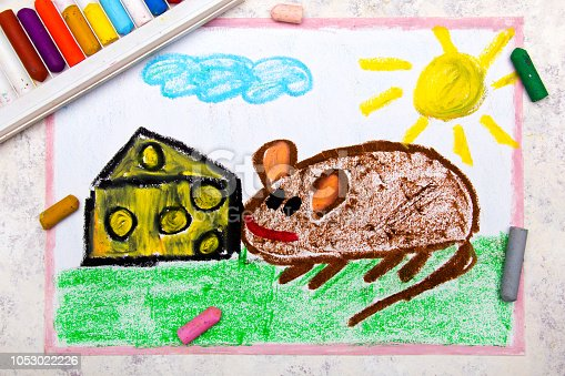 495695633 istock photo Colorful hand drawing: adorable little mouse eating yellow cheese with holes 1053022226