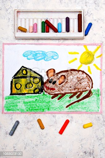 495695633 istock photo Colorful hand drawing: adorable little mouse eating yellow cheese with holes 1053023132