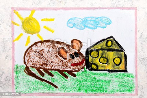 495695633 istock photo Colorful hand drawing: adorable little mouse eating yellow cheese with holes 1136652252