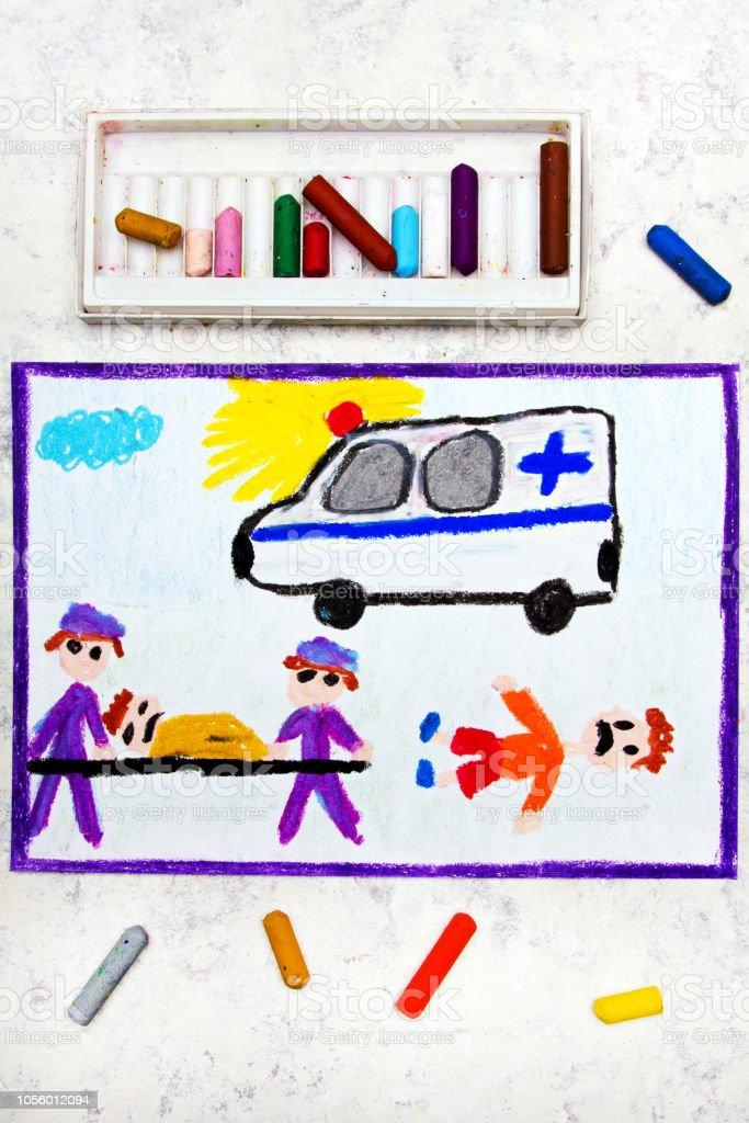 Renkli El Cizimi Ambulans Ve Saglik Ekibi Kaza Kurbani Stok