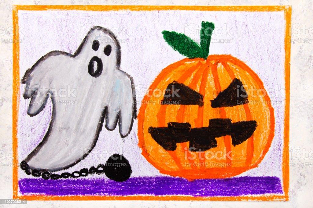 Photo Libre De Droit De Colorful Main Dessin Cute Hallowen Citrouille Et Fantome Effrayant Halloween Dessin Sur Fond Blanc Banque D Images Et Plus D Images Libres De Droit De Aliment Istock