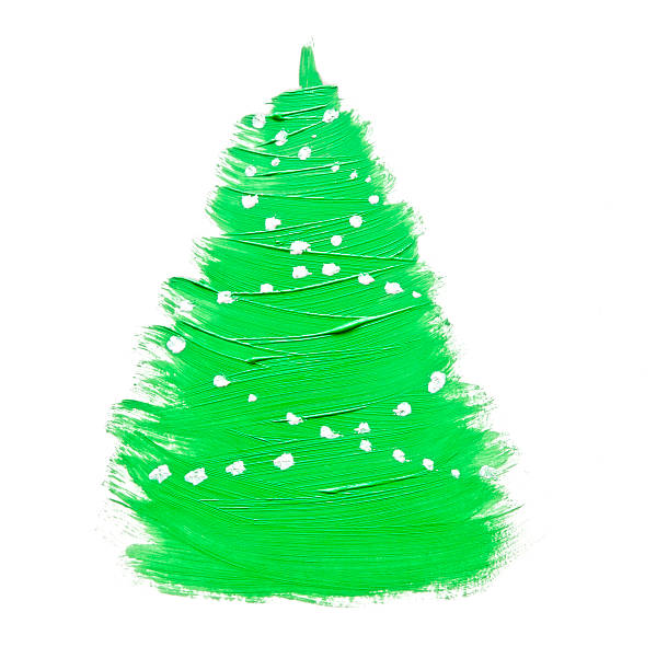 Colorful hand drawing green Christmas tree on white paper stock photo