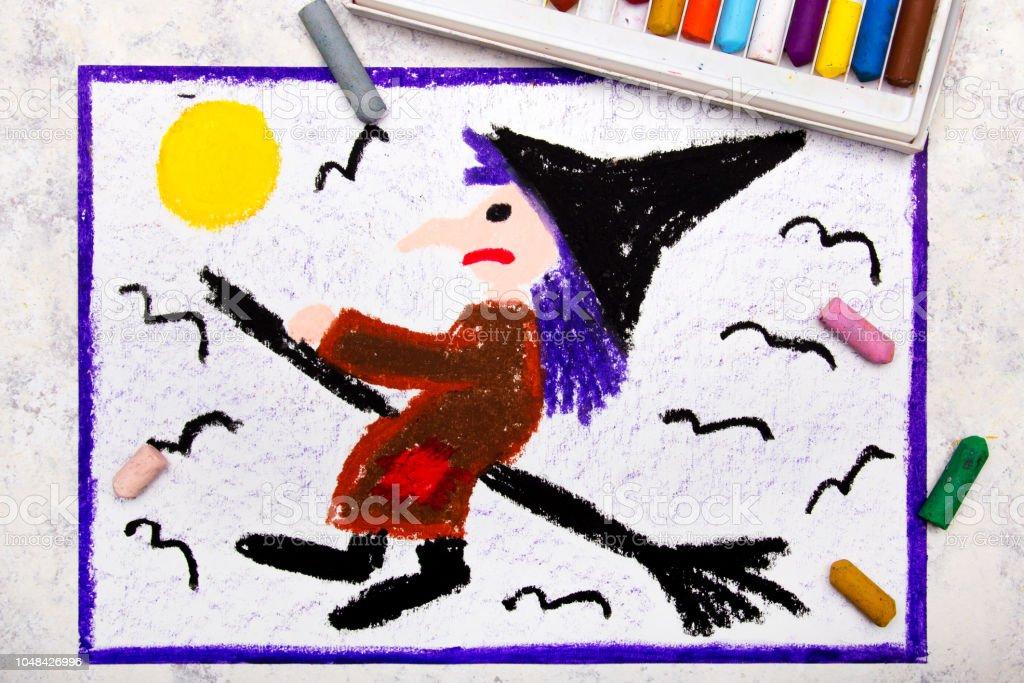 Heks Op Bezem Storm.Kleurrijke Hand Tekenen Oude Lelijke Heks Vliegen Op Een