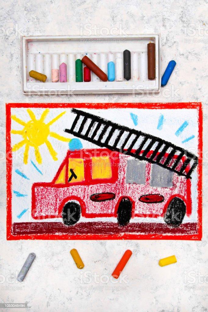 Renkli El Cizimi Kirmizi Itfaiye Arabasi Bir Merdiven Ile Stok