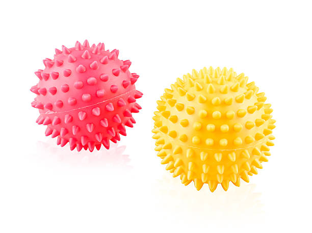 Colorful hand massage ball isolated on white stock photo