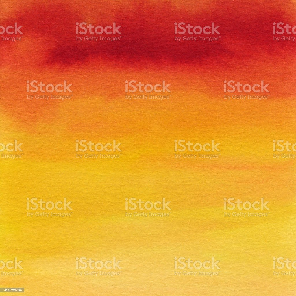 Colorful hand painted gradient red orange and yellow colors stock photo