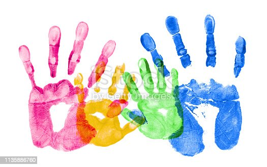 Colorful hand prints of a family.