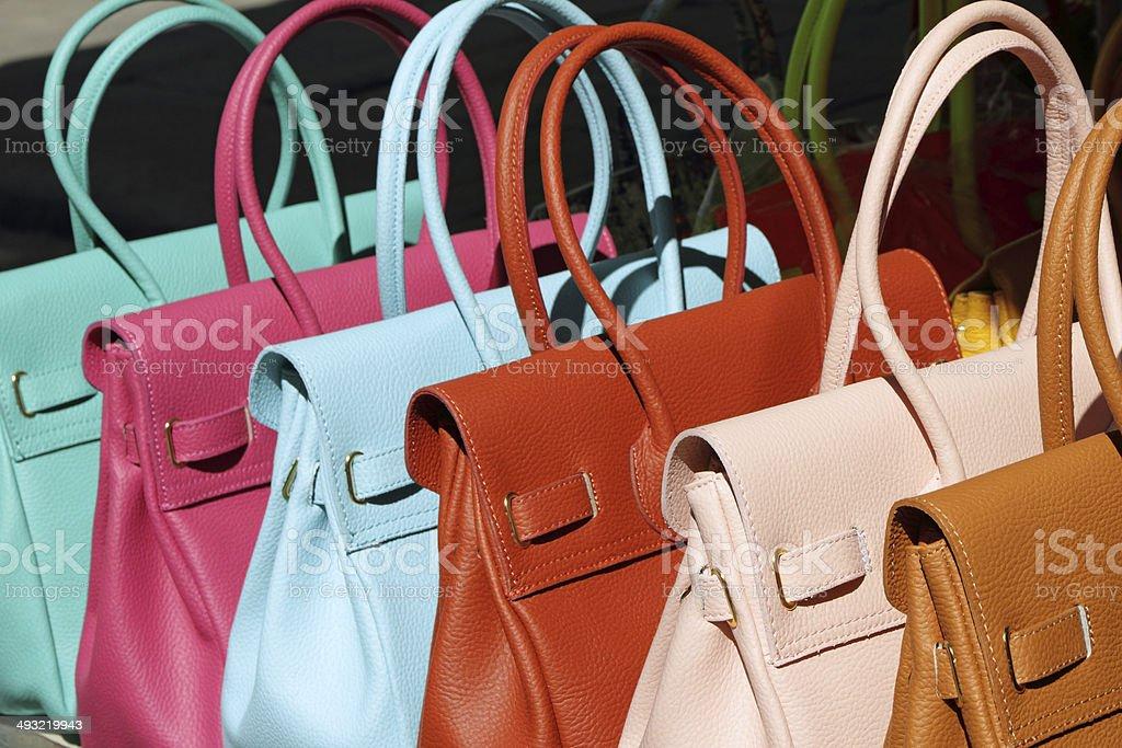 colorful handbags stock photo