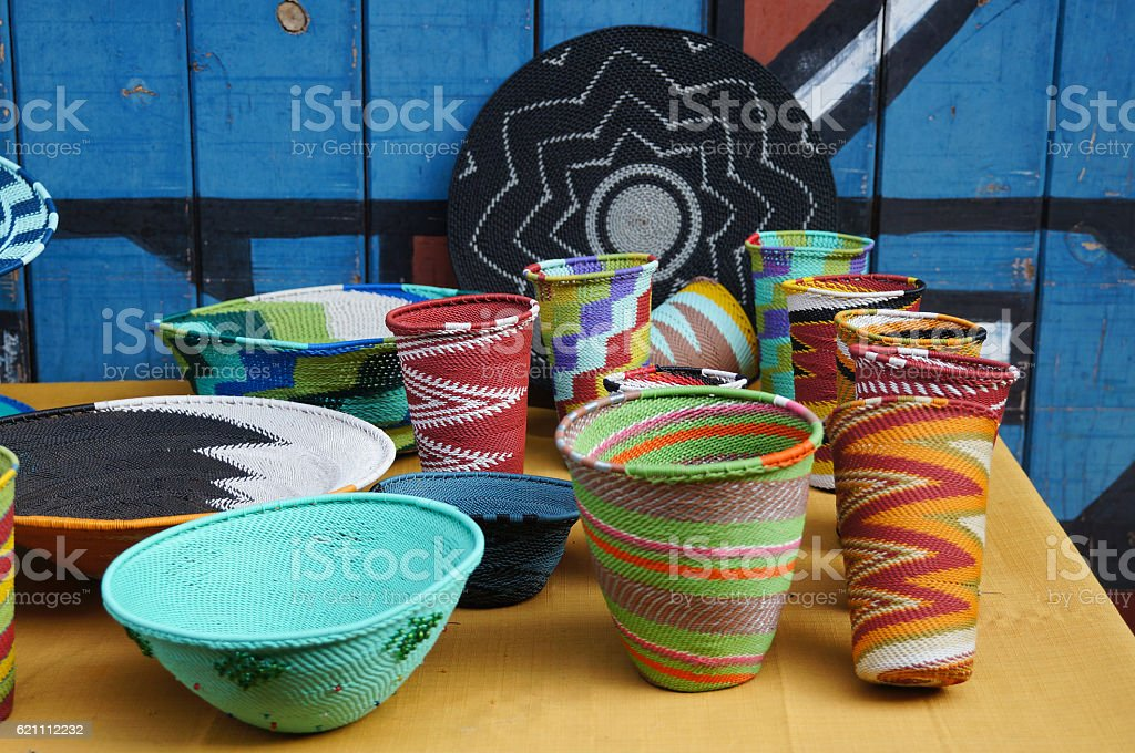 Colorful handmade bowls and vases for sell,South Africa. stock photo