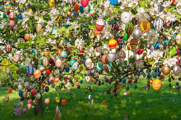 a mano colorato uovo di pasqua su un albero di mele - buona pasqua in tedesco foto e immagini stock