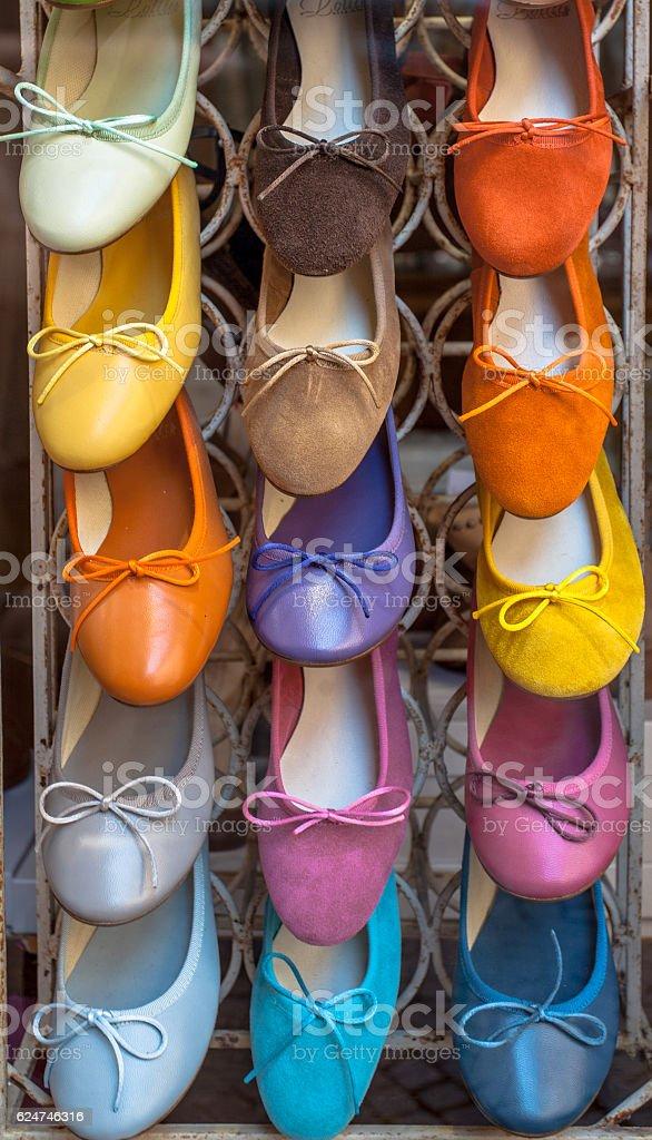 Colorful handmade Italian Shoes stock photo