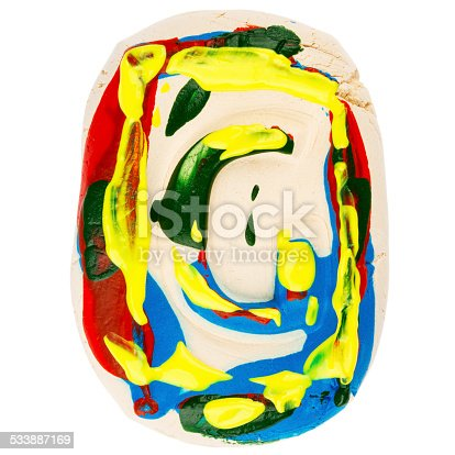 184953872istockphoto Colorful handmade of white clay letter G 533887169