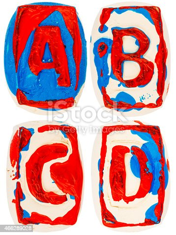 184953872istockphoto Colorful handmade of white clay letters 466289028