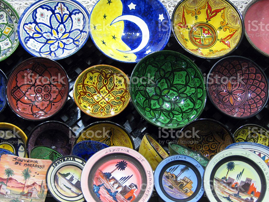 Colorful Hand-painted Moroccan Plates royalty-free stock photo