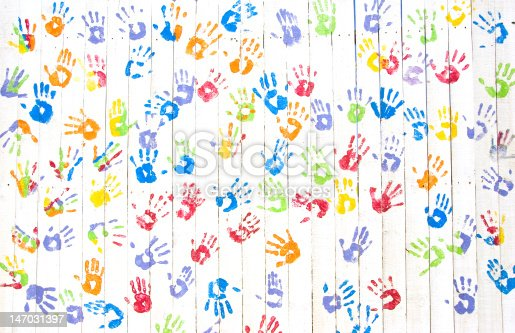 istock Colorful handprints on a wall 147031397
