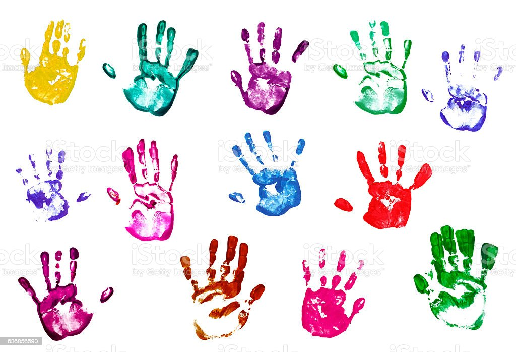 colorful handprints isolated on white background