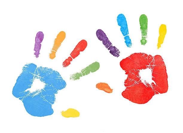 bunte handprints - fingerfarben stock-fotos und bilder