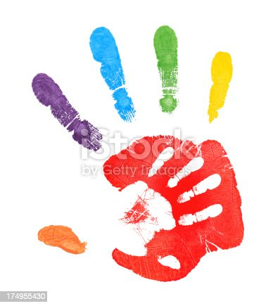 Colorful handprints.