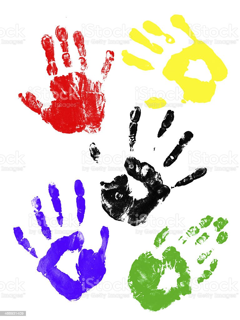 Colorful handprints royalty-free stock photo