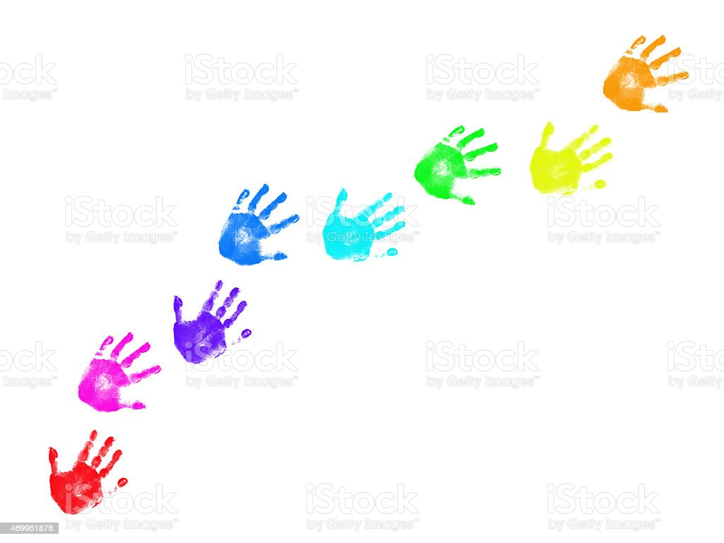 Colorful handprints trail isolated on white background stock photo
