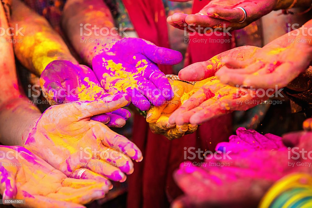 Colorful Hands, Indian Holi Festival stock photo