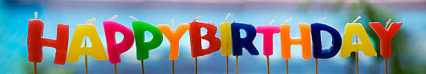 colorful happy birthday candle - happy birthday banner stock photos and pictures