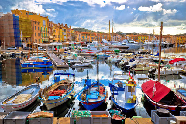 Colorful harbor of Saint Tropez at Cote d Azur view Colorful harbor of Saint Tropez at Cote d Azur view, Alpes-Maritimes department in southern France var stock pictures, royalty-free photos & images
