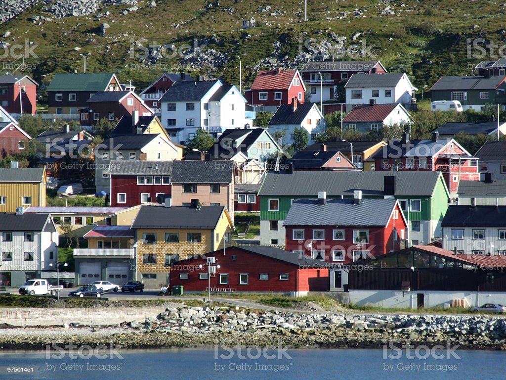 Colorful harbor town in Scandinavia royalty-free stock photo