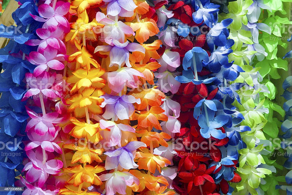 Colorful Hawaiian lei flowers stock photo