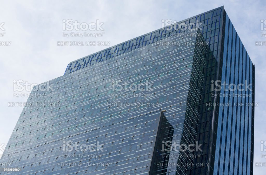Colorful Headquarters Building New Construction in Downtown Seattle Washingon stock photo