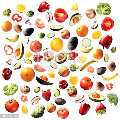 Fruits and vegetables photographed on white background. Extremely high resolution.