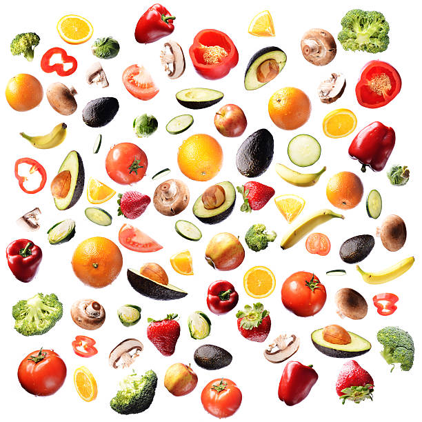 Colorful Healthy Food Pattern stock photo