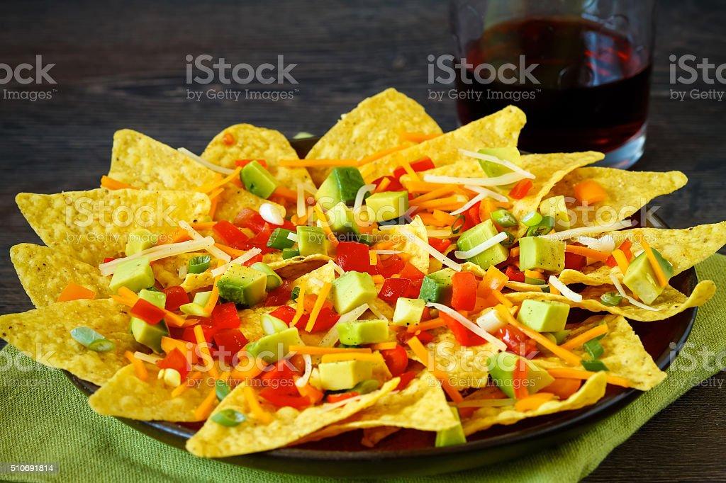 Colorful healthy nachos stock photo