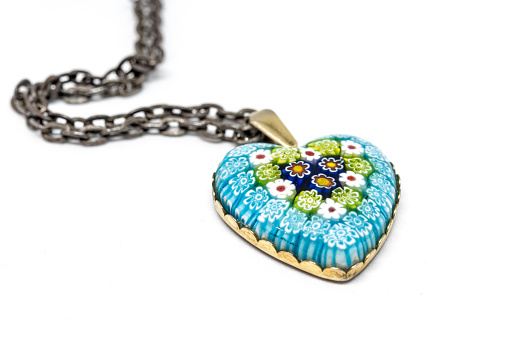 Colorful Heart Shape Glass Pendant Isolated on White