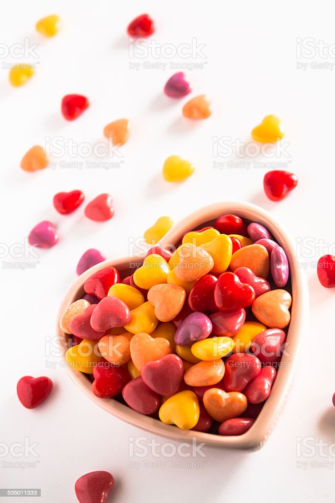 Colorful Heart Shaped Valentines Day Candy stock photo