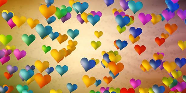 colorful heart shapes on simple background - meerdere lagen effect stockfoto's en -beelden