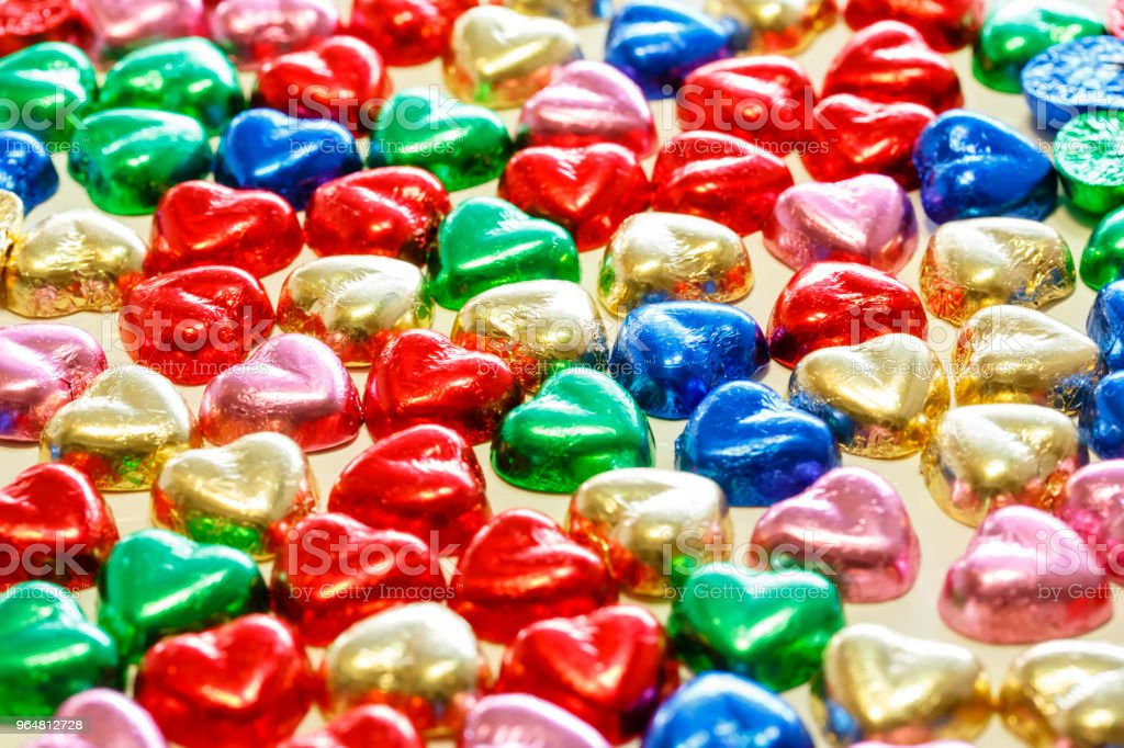 Colorful hearts chocolate royalty-free stock photo