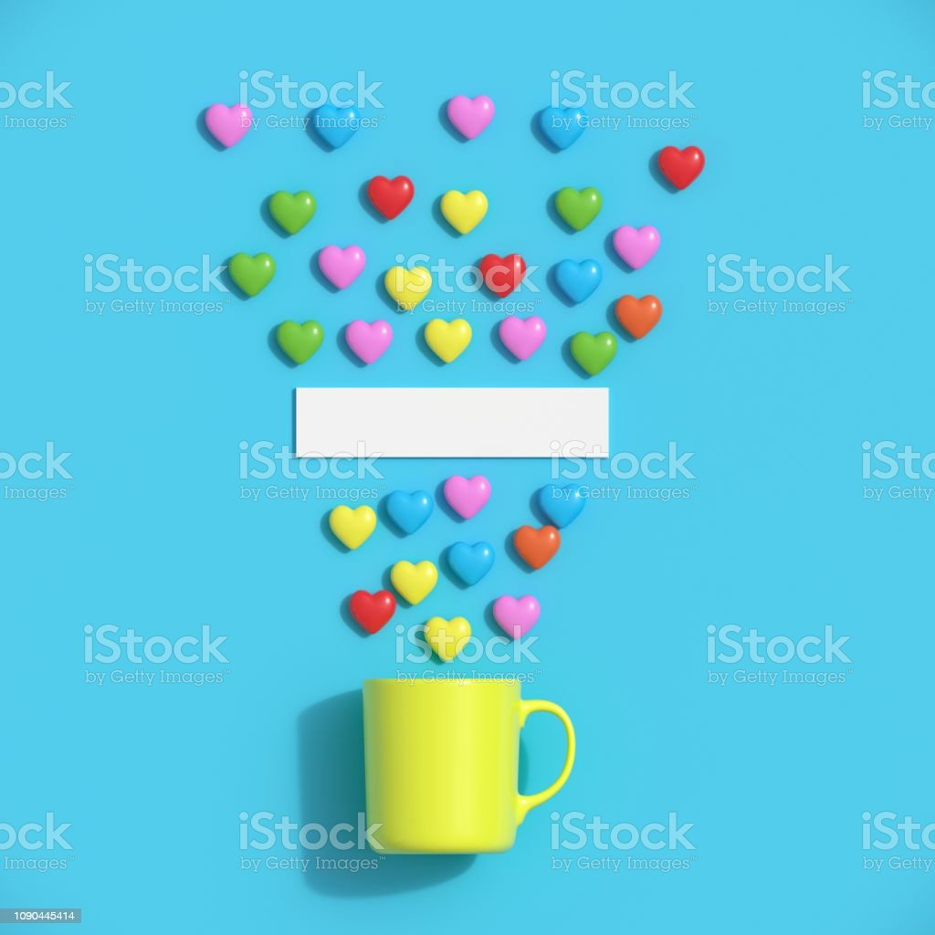Colorful hearts shape with yellow mug on blue background for copy...