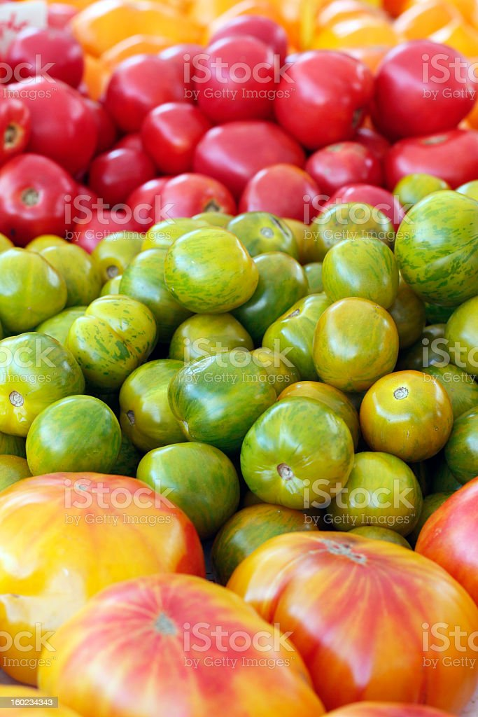 Colorful Heirloom Tomatoes Close-up royalty-free stock photo