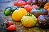 istock Colorful heirloom tomatoes fresh from my organic country garden 1138540429