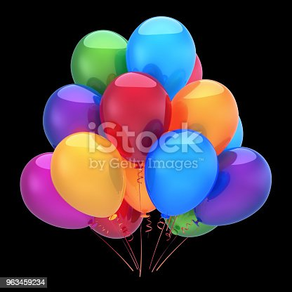 815229514 istock photo Colorful helium balloons, happy birthday party decoration 963459234