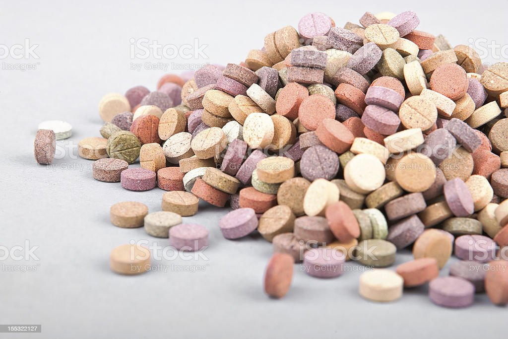 colorful herbal pills royalty-free stock photo