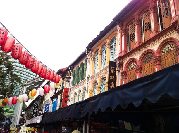 colorful heritage buildings in Chinatown in Singapore stock photo