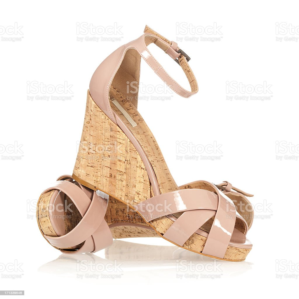Colorful high heels in fashionable wedge style stock photo