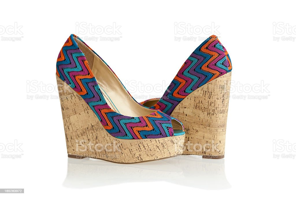 Colorful high heels in fashionable wedge style royalty-free stock photo