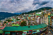 istock Colorful hill station and cloudy blue sky 1296293608