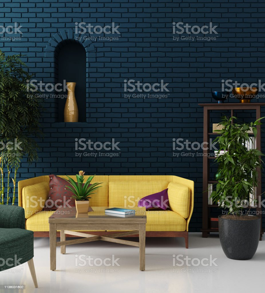 Colorful Hipster Living Room With Blue Brick Wall And Yellow